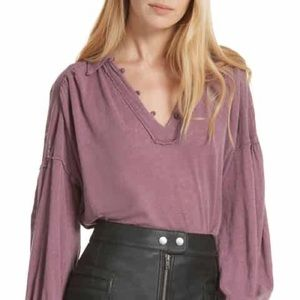 NWT Free People Rush  Hour Tee in Mulberry